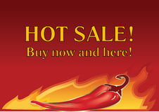 Vector hot chilly pepper on fire background. Stock Image