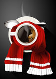 Vector of Hot Coffee Cup in Red Scarf Royalty Free Stock Images