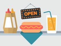 Vector hot dog shop Royalty Free Stock Photography