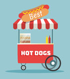 Vector hot dogs street cart Royalty Free Stock Images