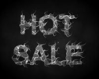 Vector Hot Sale text with smoke flames background.. Vector Hot Sale text with smoke flames background. Wavy cloud threads from fiery letters. Hot Black friday Royalty Free Stock Images