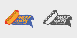 Vector Hotdog logo and badges template for your design. Monochrome and color Stock Photography