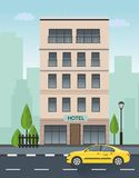 Vector hotel building and taxi service illustration. In flat design Royalty Free Stock Images