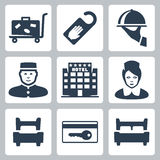 Vector hotel icons set Stock Image