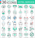 Vector Hotel service flat line outline icons for apps and web design. Hotel service icon. Stock Photography