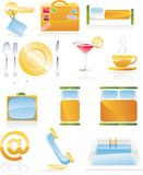 Vector hotel service icon set. Hotel, motel service icon set stock illustration