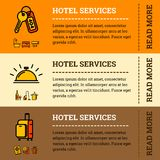 Vector hotel services banner concept with color outline icons. Vector hotel services related banner concept with color outline icons for your design. Laundry Stock Photo