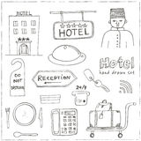 Vector hotel set doodle sketch illustration Royalty Free Stock Photography