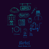 Vector hotel set doodle sketch illustration Stock Images
