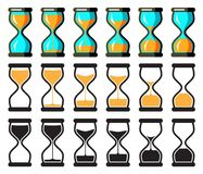 Vector Hourglass Collection. Set of Vector Hourglass Collection. Sand Clocks for Sprite Sheet Animation. Vintage Hourglass Timer Sand as Countdown Illustration Stock Images