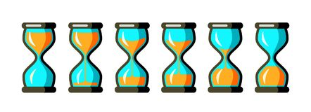 Vector Hourglass Collection. Simple Vector Hourglass Collection. Sand Clocks for Sprite Sheet Animation. Vintage Hourglass Timer Sand as Countdown Illustration Stock Photography