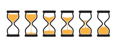 Vector Hourglass Collection. Simple Vector Hourglass Collection. Sand Clocks for Sprite Sheet Animation. Vintage Hourglass Timer Sand as Countdown Illustration Royalty Free Stock Photo