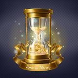 Vector hourglass with gold coins, time is money. Vector realistic hourglass, antique timer with sand inside to measure hours and minutes, isolated on background stock illustration