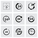 Vector 24 hours icon set. On grey background Stock Photo