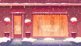 Vector cartoon round-the-clock boutique with illuminated shop-window royalty free illustration