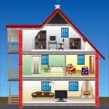 Vector house. Condo units on blue sky Royalty Free Stock Photography