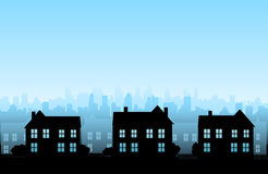 Vector house background. Vector house suburb background, vector illustration Royalty Free Stock Images