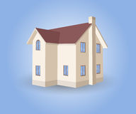 Vector House on blue background. With shadow Stock Photos