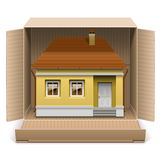 Vector House in Carton Box Royalty Free Stock Image