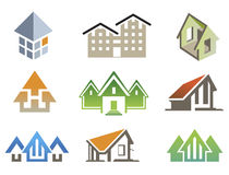 Vector house elements. Nine vector elements for create logo of building project stock illustration