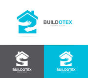 Vector house and hands logo combination. Real estate and embrace symbol or icon. Unique apartment and rent agency vector illustration