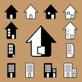Vector house icon in black and white Royalty Free Stock Images