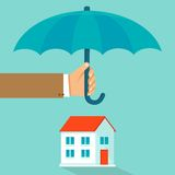 Vector house insurance concept in flat style. Infographic design elements and icons - agents hand holding umbrella over house Stock Images