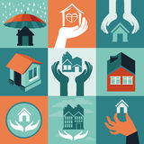 Vector house insurance Stock Photos