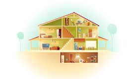 Vector cartoon house in cross section, background. Vector house interior in cross section with basement and garret, cartoon multistorey private building. Attic royalty free illustration
