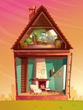 Vector house interior in section, cartoon architecture background. Vector house interior cross section, cartoon children playroom at attic with furniture and Royalty Free Stock Images