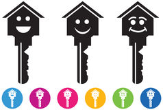 Vector of House and key icons and buttons set in smiley faces. Stock Image