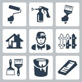 Vector house painter icons set Royalty Free Stock Photos