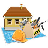 Vector House Repair Project Stock Images