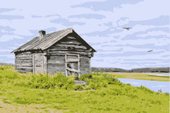 Vector house at the river Royalty Free Stock Photo