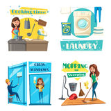 Vector house or room cleaning, cooking and laundry. Home cleaning, cooking and laundry. Vector woman cook at kitchen with dishware of saucepan and tableware Royalty Free Stock Photos