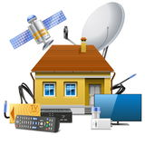 Vector House with Satellite Equipment Stock Photos