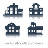 Vector house silhouettes on white background Royalty Free Stock Photos