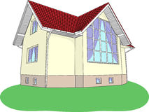 Vector house with stained glass on the lawn Stock Photos