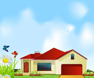 Vector house standing in a meadow Stock Photo