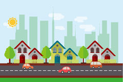 Vector House Street in Flat Design. House vector illustration with city background in flat design Royalty Free Illustration
