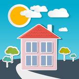 Vector House on Sunny Day Royalty Free Stock Image