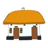 Vector House with thatched roof. On white 1 Royalty Free Stock Photo