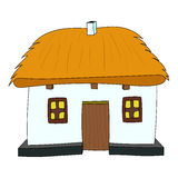 Vector House with thatched roof Royalty Free Stock Photos