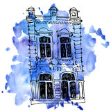 Vector house at watercolor background Royalty Free Stock Photo