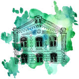 Vector house at watercolor background Stock Images
