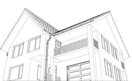Vector house on the white background. Illustration Stock Images