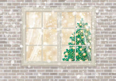 Vector  house window with Christmas tree. Stock Image