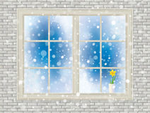 Vector house window with daffodil  flower. Royalty Free Stock Photo