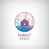 Vector house in the woods logo. Stock Photo