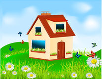 Vector house with yellow walls, red roof Stock Images